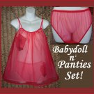 SHEER CHIFFON Vintage Babydoll Nightgown Panties SET Nylon FUN CHERRY RED Negligee Medium/M!