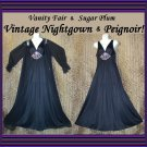 VANITY FAIR Vintage Nightgown BLACK FLORAL GARDEN w/Peignoir Mix~Match Robe Set LONG SWEEP Small/S!