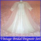 Romantic Lacy Vintage NIGHTGOWN and PEIGNOIR Set BRIDAL WHITE Nylon Sheer CHIFFON Long Small/S!