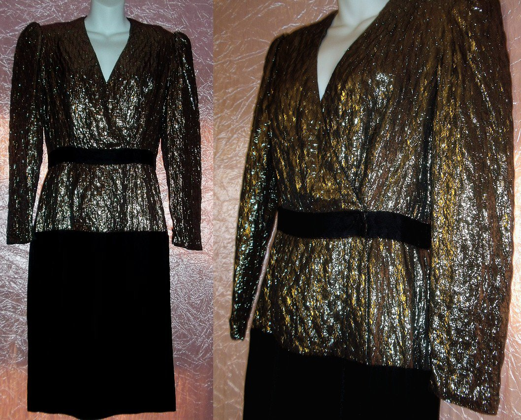 CLASSY Elegant COCKTAIL PARTY Dress METALLIC GOLD and BLACK VELVET Designer HALSTON Sexy Sz 8 M!