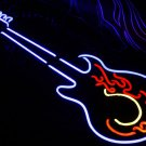 TANBANNER Neon Sign Light HOT FIRE BLUE GUITAR N115