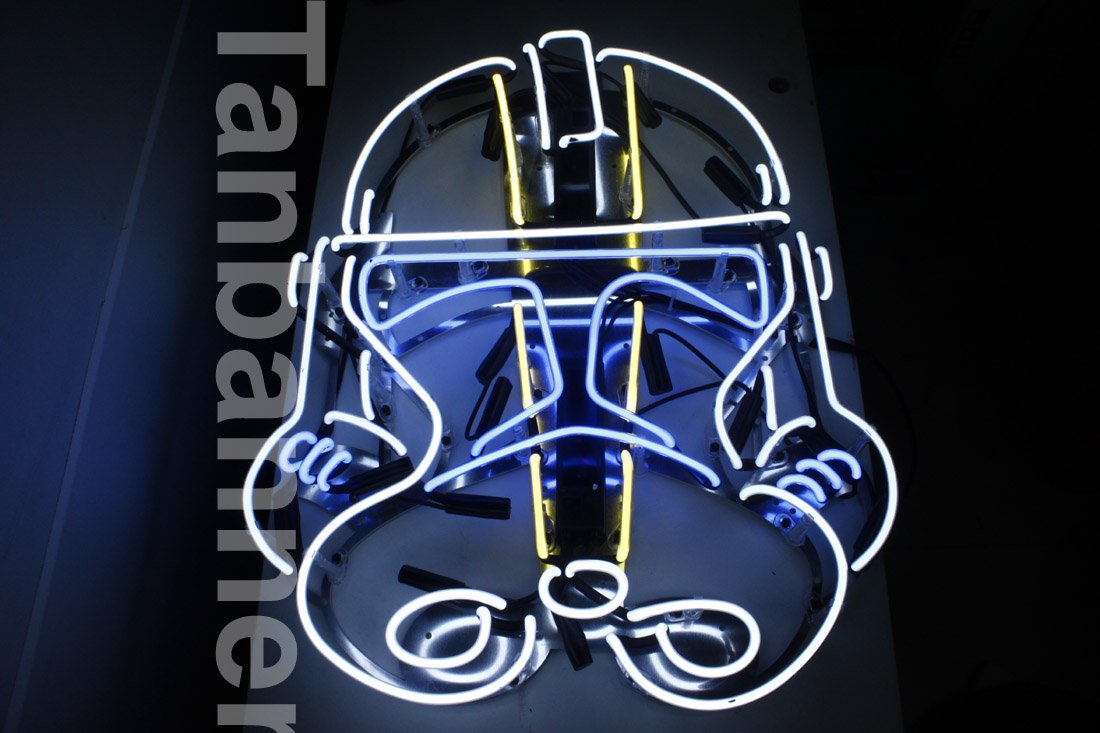 Silver Star wars clone Helmet Neon Sign Light N284C Blue eye