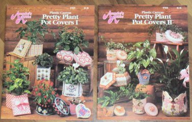 Annie's Attic Plastic Canvas Booklets Pretty Plant Pot Covers I and II OOP