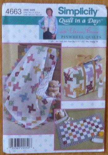 Simplicity 4663 Quilt in a Day Pinwheel Baby Blanket Diaper Bag Pad NIP