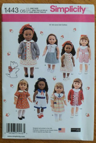 "Simplicity Pattern 1443 Doll Clothes Pattern 18"" Dolls NIP"