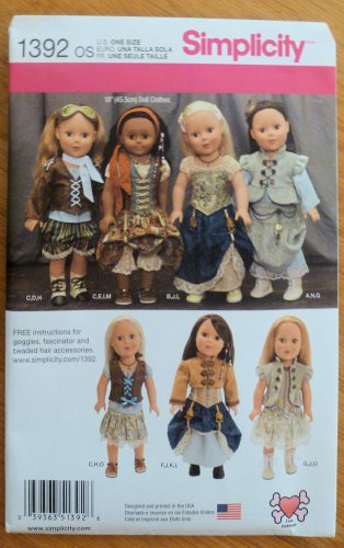 "Simplicity Pattern 1392 Doll Clothes Pattern 18"" Dolls NIP"