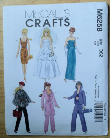 """Doll Pattern McCall's 6258 11.5"""" Barbie Type Doll Clothes"""
