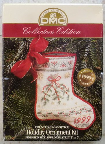 Vintage DMC Cross Stitch X-Stitch Holiday Stocking Ornament Kit NIP 1999