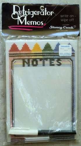Stoney Creek Refrigerator Memos Wipe On/Off Cross Stitch Kit Crayon Design NIP