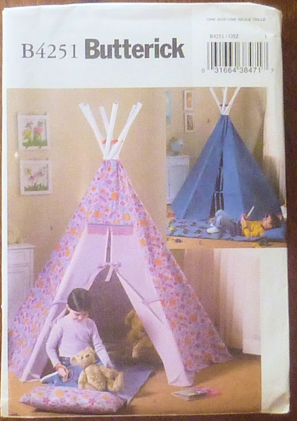 Butterick B4251 Child's TePee Tent, Mat and Pillow Pattern 80 Inches High New