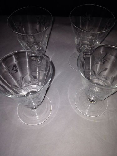 FOUR BRANDY SHOT GLASSES WITH FLOWERS ETCHED IN GLASS