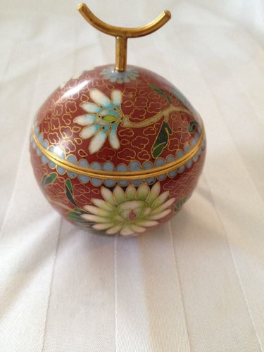Beautiful,Cloisonne Jewery Box,14K Gold Plated,China mark,Floral Pattern,blue in