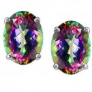 1.08ct Mystic Fire Topaz 925 Sterling Silver Oval CZ Stud Faceted Earrings