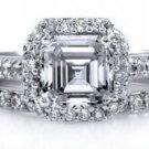 Cushion Cut CZ Sterling Silver 2-Pc Ring Set Clear Halo Matching Wedding Carved
