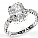 925 Silver Emerald Cut CZ Halo Engagement Wedding Ring W Pave Accents Size 6,9