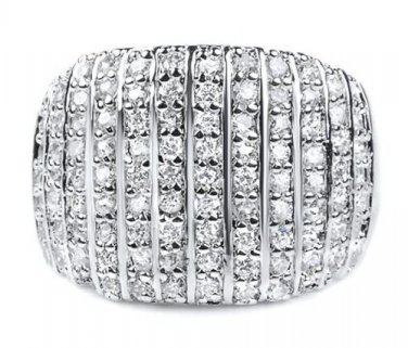 Large 925 Pave CZ Ring Sterling Silver Wide Cocktail Band White Cubic Zirconia