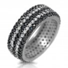 Black White CZ 925 Sterling Silver Wide Eternity Band Big  Anniversary Ring