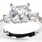 Vintage Sterling Silver Princess Cut CZ 3 Stone Engagement Wedding Ring