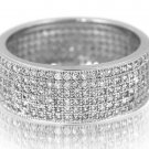 Micro Pave Wide Eternity CZ Band Sterling Silver White Cubic Zirconia LUXURIOUS
