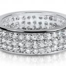 Silver 925 Wide Cigar Pave Eternity CZ Band All Around Cubic Zirconia Ring