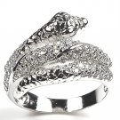 925 Sterling Silver Wrap Snake Ring With CZ Pave Accents Eternity Hot Fashion