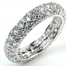 3 Row Pave Eternity CZ Band Ring White Cubic Zirconia Wide Band New Size 8, 9