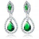 Sterling Silver Drop Pear Shaped Green Emerald CZ Drop Dangle Earrings 925