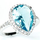 925 Sterling Silver Pear Cut Aquamarine & White CZ Halo Pave Anniversary Ring