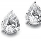 Pear Cut Stainless Steel Clear CZ Stud Earrings Post Cubic Zirconia Drop w BOX!