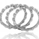 Stackable 3 Piece Baguette Eternity CZ Ring Set Sterling Silver Cubic Zirconia