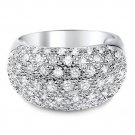 Micro Pave Clear CZ Wide Band 925 Sterling Silver Cubic Zirconia Ring Sparkly!