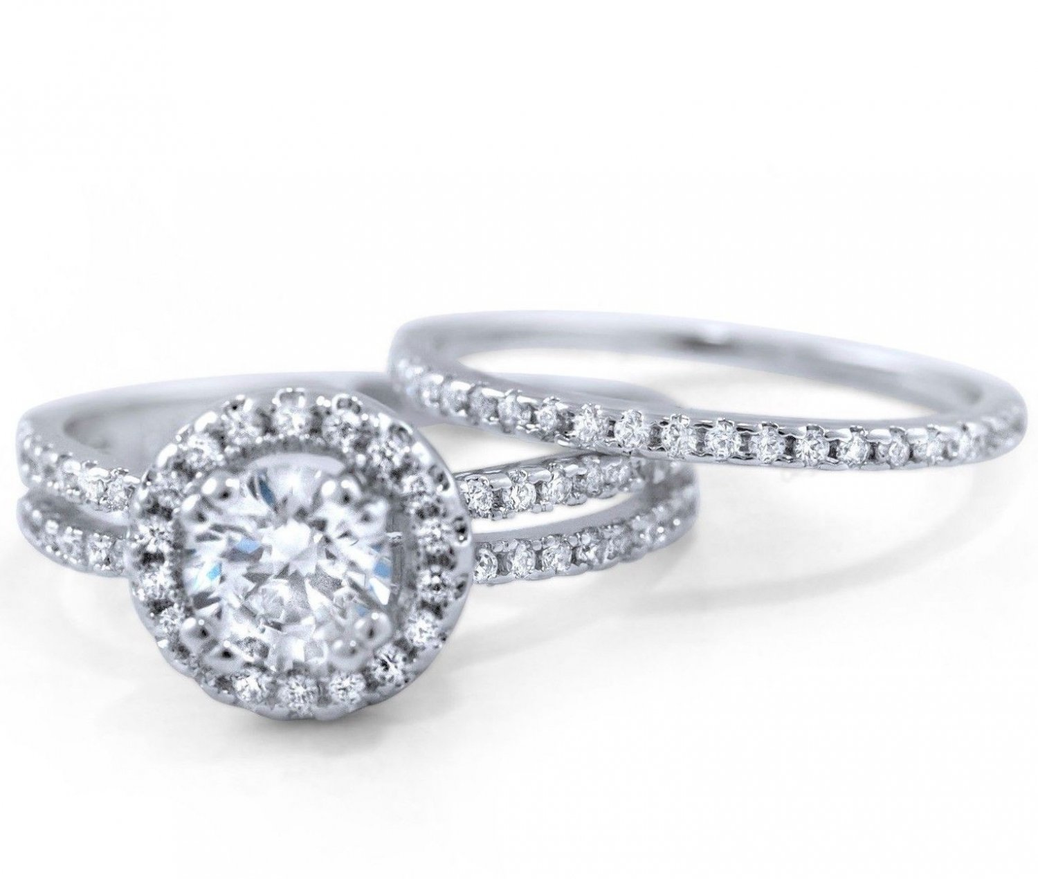 6mm Sterling Silver ROUND CUT CLEAR CZ DOUBLE 2 PIECE WEDDING BAND BRIDAL SET