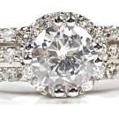 1.5 Carat Round Cut Sterling Silver CZ Engagement Wedding Ring W Pave Accents