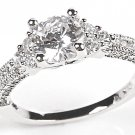 925 Sterling Silver Delicate Engagement CZ Wedding Ring W Accents Bridal Jewelry