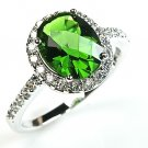 Oval Halo Green Emerald Sterling Silver Solitaire Ring w/ White CZ Accents LUX!