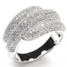 Micro Pave CZ 925 Sterling Silver Wide Cocktail Band Wrap Multiple Row Ring