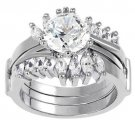 Round Baguette Clear CZ 925 Sterling Silver 2-Pc Wedding Engagement Ring Set