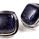 Blue Goldstone Sterling Silver 925 Post Stud Earrings Classic Cushion 12 mm