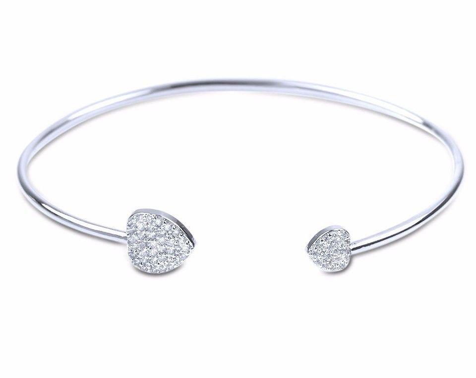 Micro Pave White CZ Heart Sterling Silver Delicate Thin Woman Girl Bracelet HOT!
