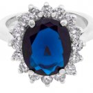 925 Sterling Silver CZ Oval Blue Sapphire Royal Engagement Lady D Replica Ring