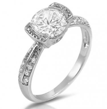 Round CZ Engagement Wedding Pave Ring 1.25 Ctw Tension Set White Cubic Zirconia