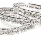 3 piece Eternity Micro Pave CZ  Stackable Silver 925 Ring Set All around Bands