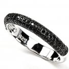 Black Micro Pave CZ Half Eternity Band 925 Sterling Silver Stackable CZ Ring
