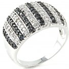 Big Black & White Cocktail 925 Sterling Silver Micro Pave Ring CZ Anniversary