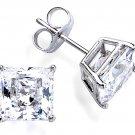 0.8 carat Princess CZ 925 Sterling Silver Basket Stud Earrings White Square Cut