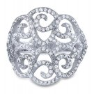 Luxurious Art Deco CZ 925 Silver Big Cocktail Ring Filigree Micro Pave CZ