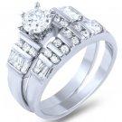 925 Sterling Silver Baguette Round Cut CZ Wedding Ring Set 3 Ctw 2-Pc Bridal Set