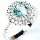London Blue Topaz Engagement CZ Ring in Sterling Silver Double Halo Set Accents
