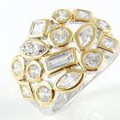 Sterling Silver Cable CZ Ring Two Tone Gold Electroplated Round Princess Cut