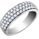 Wide Semi Eternity Sterling Silver CZ Band White Stackable Anniversary Ring